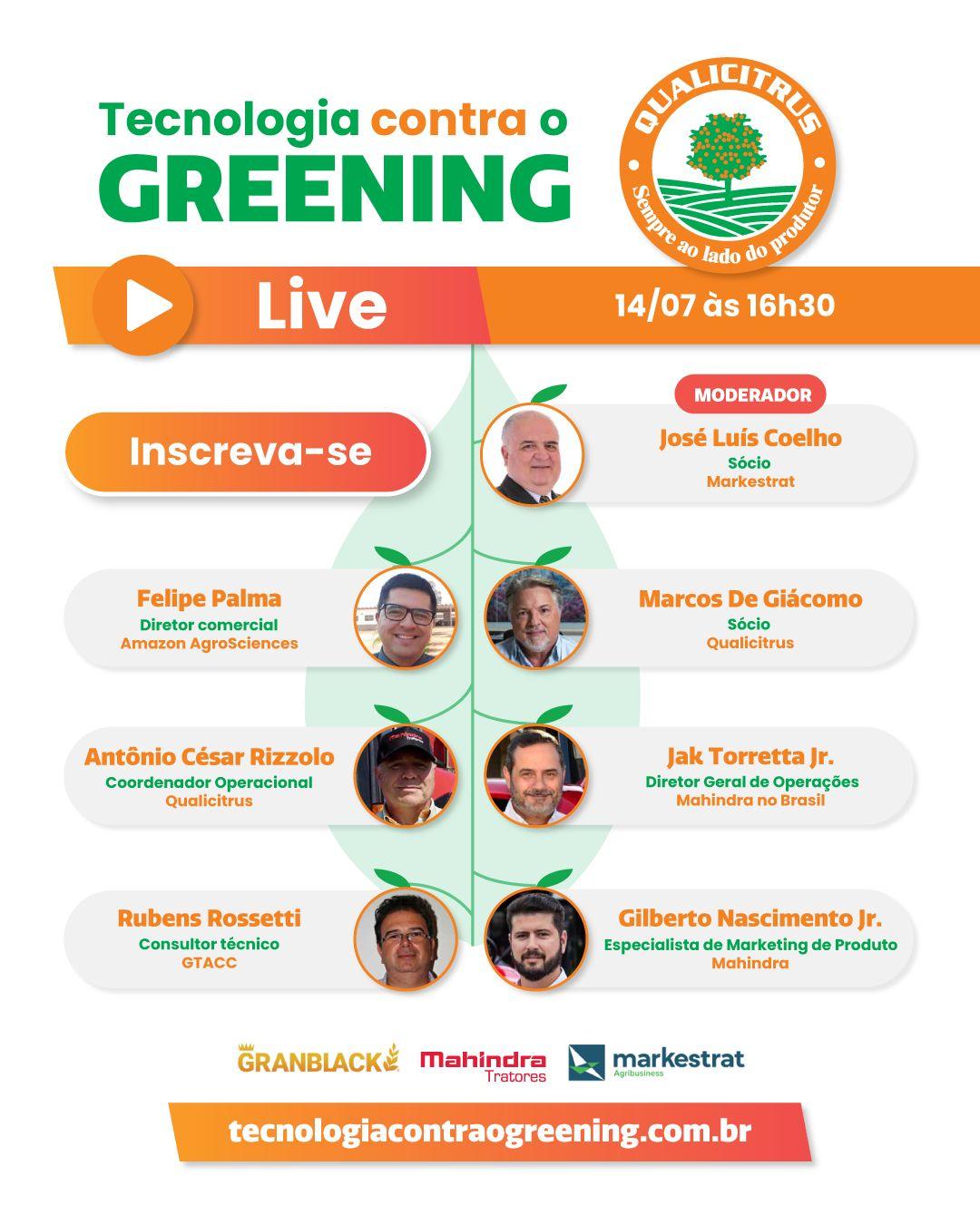 Tecnologia contra o Greening será foco do Webinar